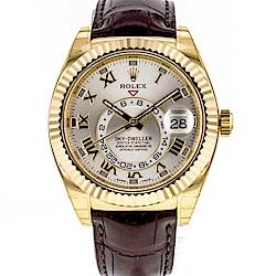 ROLEX 勞力士 326138 Sky-Dweller18K黃金年曆皮帶錶-42mm