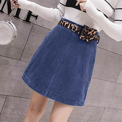 DABI 韓系時尚燈芯絨半身裙配皮帶單品短裙