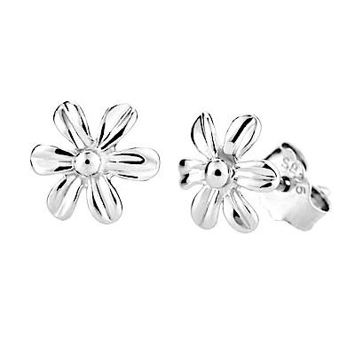 米蘭精品 925純銀耳環-光面小花耳環
