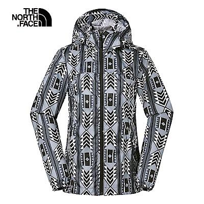 The North Face北面女款白灰色防潑水可收納式風衣外套|3VMY9RA