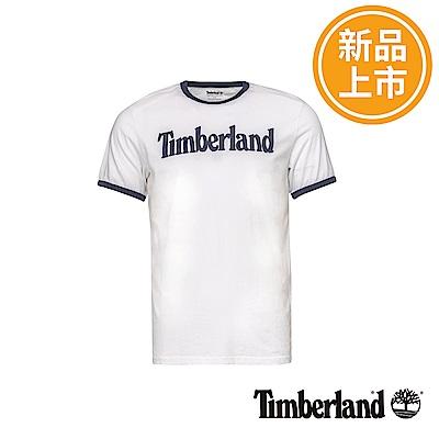 Timberland 男款白色文字LOGO短袖T恤