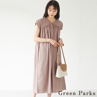 Green Parks 刺繡拼接抓褶連身裙
