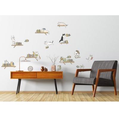 GIU132貓小姐系列創意壁貼-老樹圖書館