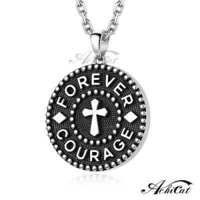 AchiCat 925純銀十字架情侶項鍊勇於追愛