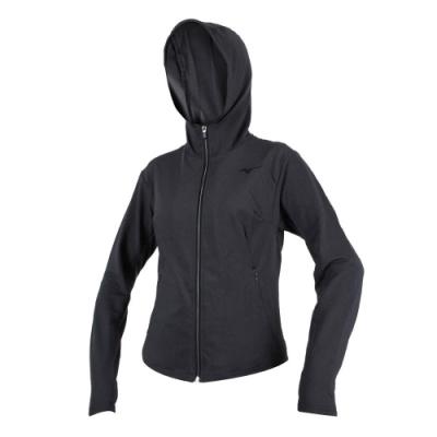 MIZUNO 女針織外套-慢跑 路跑 立領 刷毛 連帽外套 美津濃 深灰黑