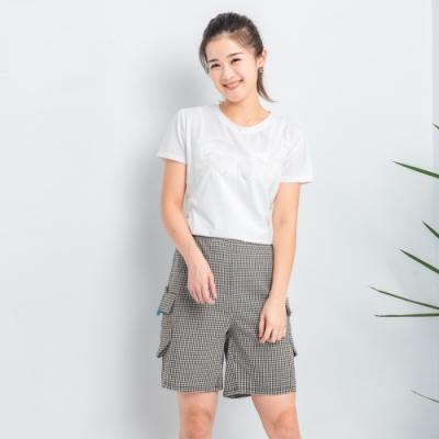 【白鵝buyer】 童趣口袋韓國製休閒褲_黑白細格