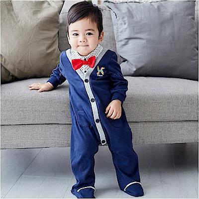 baby童衣 翻領前開襟假兩件包腳連身衣 82006