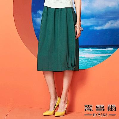 【麥雪爾】素色棉麻口袋花苞裙