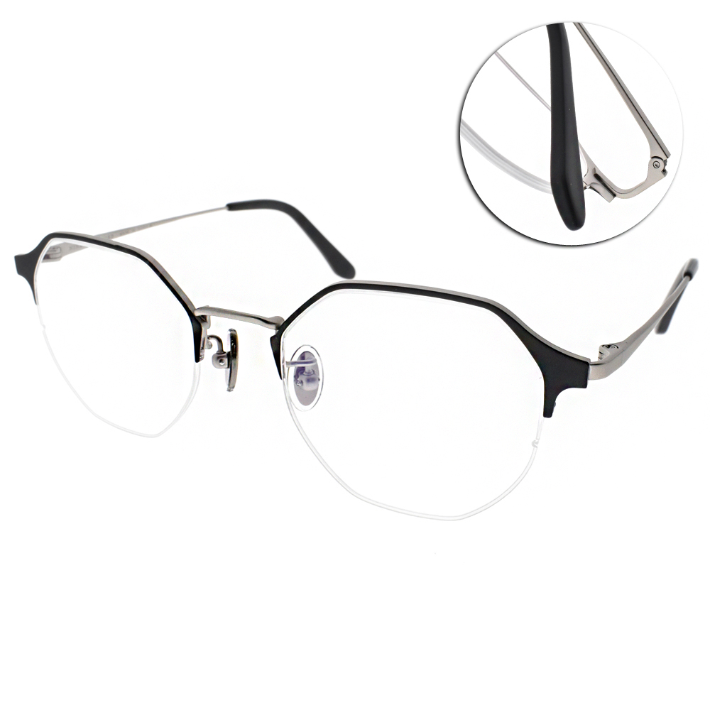 NINE ACCORD眼鏡 韓系造型半框/霧黑銀 #TI OWEN C03