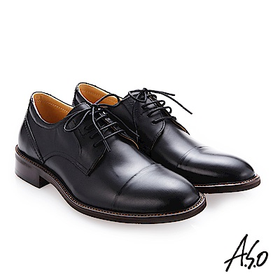 A.S.O 職人通勤 綁帶蠟感小牛皮紳士鞋 黑