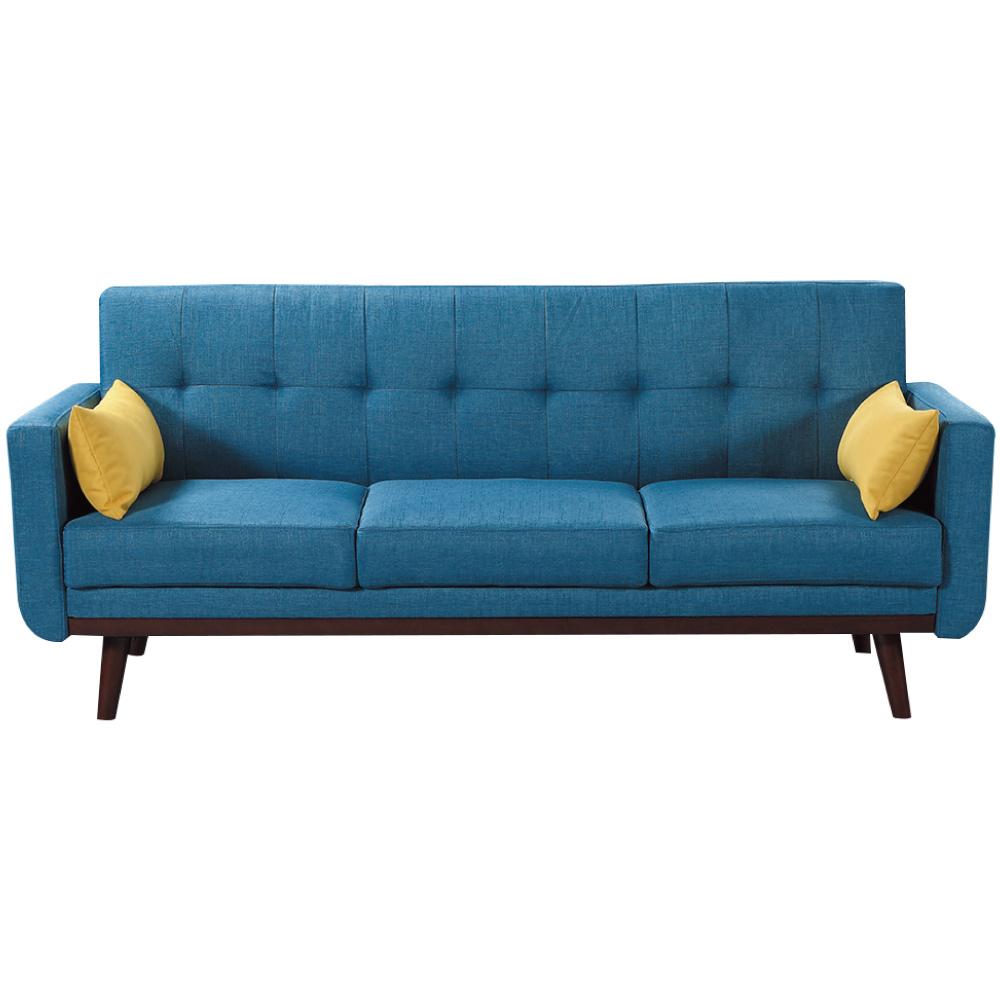 綠活居 耶魯亞麻布紋皮革沙發床(展開式設計+二色)-200x86x85cm免組