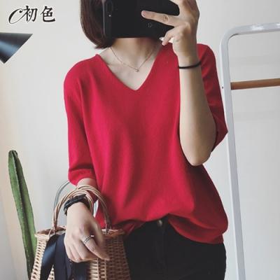 初色  V領五分袖針織衫-共6色-(F可選)