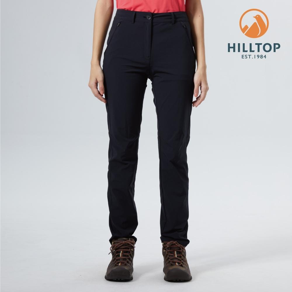 【hilltop山頂鳥】女款吸濕快乾抗UV彈性戶外休閒長褲S07FK2黑