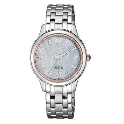 CITIZEN 晶彩綻放貝殼面女腕錶-玫瑰金框(EM0726-89Y)/30mm