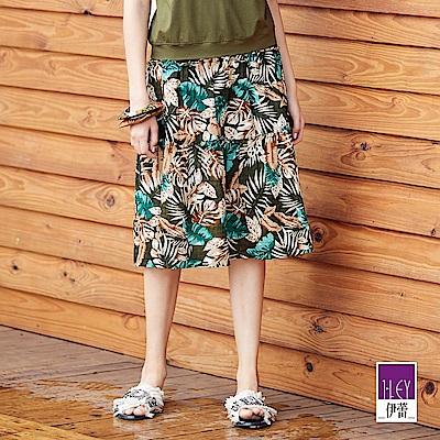 ILEY伊蕾 棕梠葉印花蛋糕裙(綠)