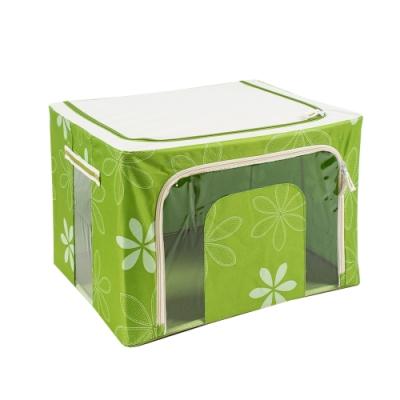 樂嫚妮 66L防潑水雙門單視窗鐵架換季衣物收納箱/折疊收納箱-綠