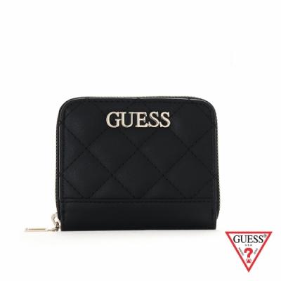 GUESS-女包-時尚氣質簡約菱格紋拉鍊零錢包-黑 原價1490