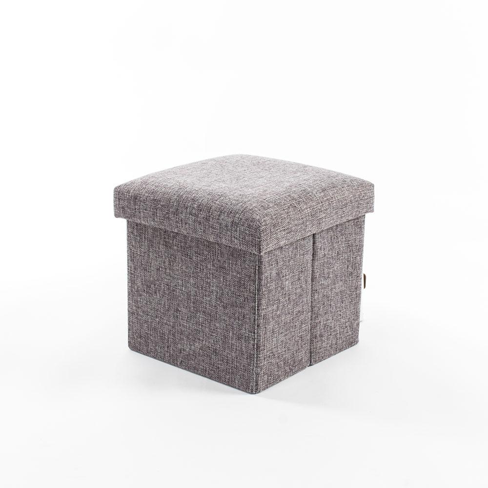 樂嫚妮 棉麻折疊收納椅凳/穿鞋凳-15L-灰