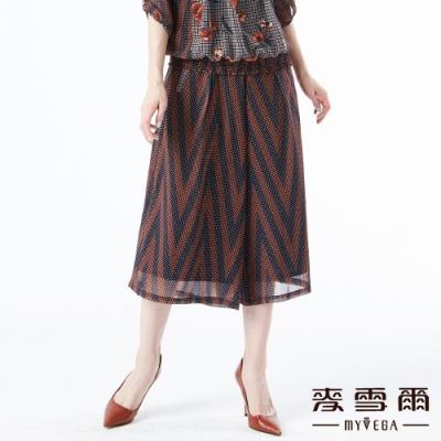 【麥雪爾】古著風圓點條紋格紋飄逸寬褲裙