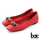 【bac】復古風潮小方頭俏皮飾釦平底娃娃鞋-紅