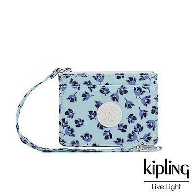 Kipling 典雅淡藍小花多夾層證件零錢包-CINDY