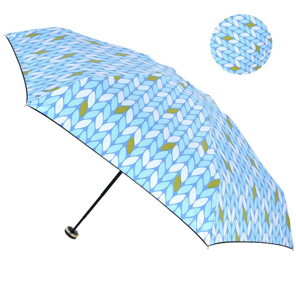 2mm 100%遮光 采漾印花黑膠降溫五折手開傘-葉子