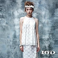 IGD英格麗 幾何浪漫蕾絲背心上衣-白色