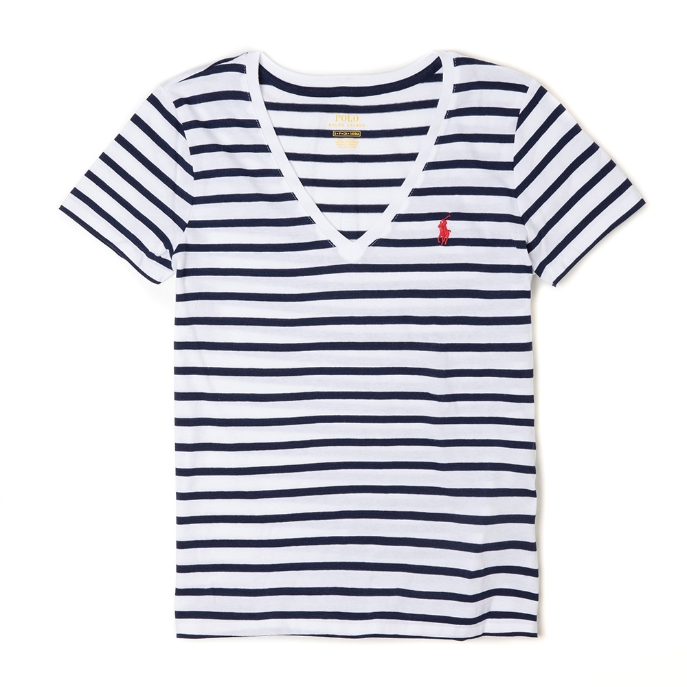 Polo Ralph Lauren 經典小馬V領條紋短袖T恤(女)-白深藍條紋色