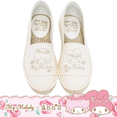 My melody X Ann'S玫瑰姊妹美樂蒂與小綿羊 單色刺繡布料平底草編鞋-白