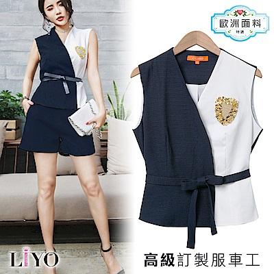 上衣藍白拼接手工釘珠胸章OL外套單穿背心上衣LIYO理優 S-XL