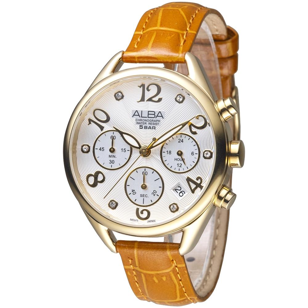 ALBA雅柏手錶 浪漫歐風晶鑽三眼碼錶計時女錶-IP金(AT3A28X1)/37mm 保固二年