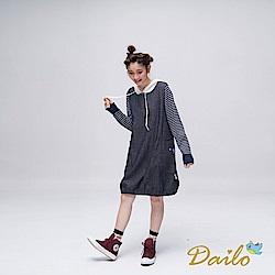 Dailo INLook單寧風花苞造型動物口帶洋裝