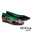 低跟鞋 MODA Luxury 時髦豹紋不對稱拼接軟漆牛皮尖頭低跟鞋-黑