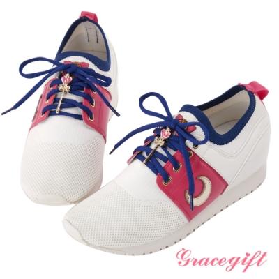 Grace gift-美少女戰士變身器針織休閒鞋 桃紅