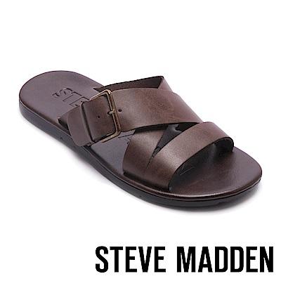 STEVE MADDEN-SUSPENSE扣帶式男士夏季涼拖鞋-咖啡