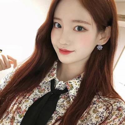 梨花HaNA  韓國925銀金緻滿鑽法式花朵盛開耳環