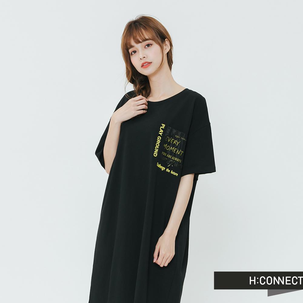 H:CONNECT 韓國品牌 女裝-街頭感貼布口袋洋裝-黑