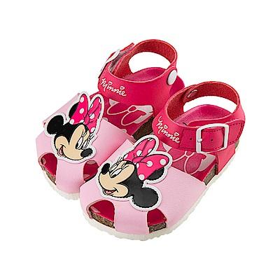 迪士尼童鞋 米妮 魔鬼氈立體護趾涼鞋-粉