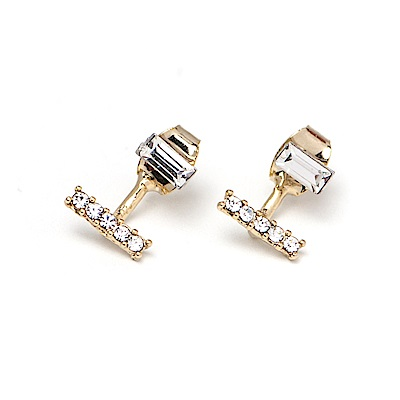 LOVER S TEMPO加拿大品牌 LEVEL水平造型鑲嵌水晶 金色耳環