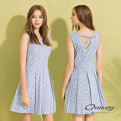 OUWEY歐薇 美背剪裁碎花條紋背心洋裝(藍)
