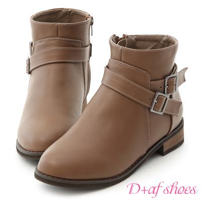 D+AF 百搭潮流.交叉釦帶內增高短靴*灰棕