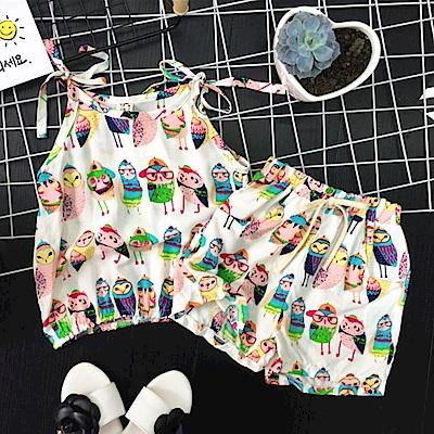 小衣衫童裝  小童寶貝貓頭鷹背心短褲套裝1060604