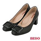 BESO 英倫格紋 魅力真皮復古粗跟鞋 素黑