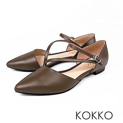 KOKKO -浪漫花都法式細帶尖頭平底鞋-深墨綠