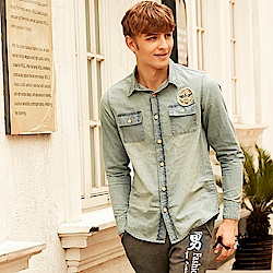 男人幫 美式街頭風布標牛仔刷洗長袖襯衫塗鴉T恤男裝