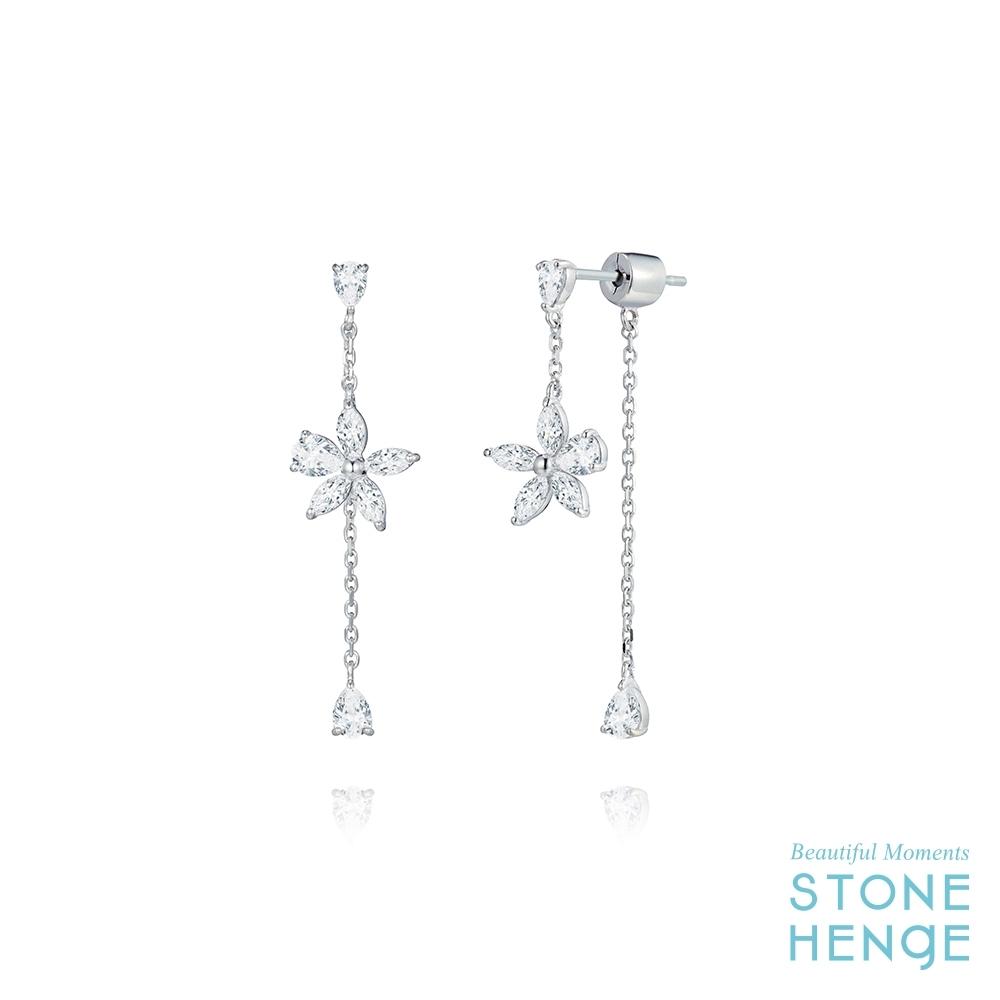 STONEHENgE 斯通亨奇 金秘書同款純銀花朵造型鋯石長耳飾