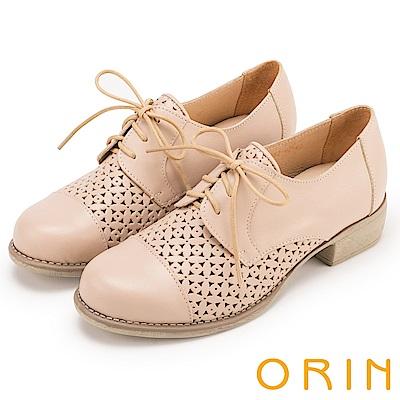 ORIN 復古潮流 趣味簍空綁帶牛皮低跟鞋-米色