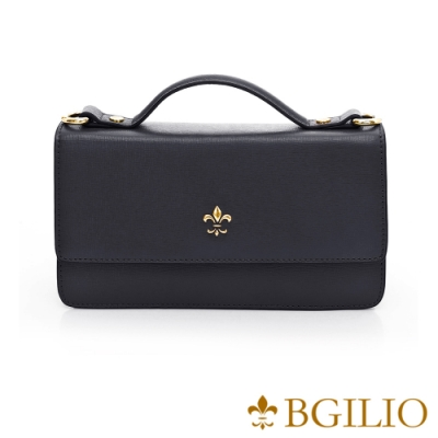 義大利BGilio-都會十字紋牛皮手提斜背兩用小方包-經典黑 1584.003-05