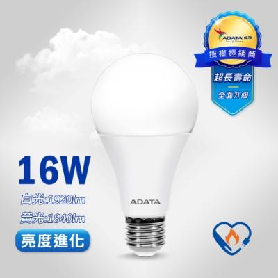 (4入組) 威剛 16W LED 燈泡 2020年節能標章(白/黃光) [限時下殺]