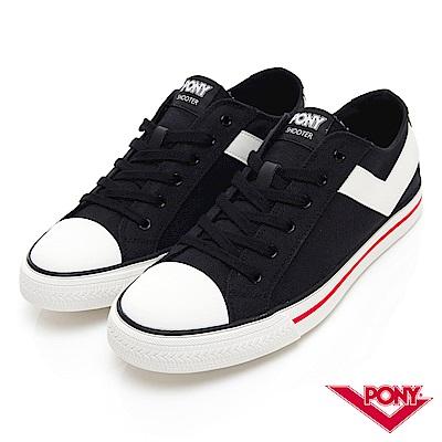 【PONY】Shooter系列經典復古帆布鞋-男-黑色